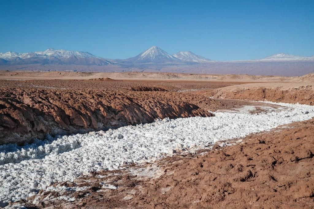Salt river through the Cordillera de la Sal in the Atacama Desert.