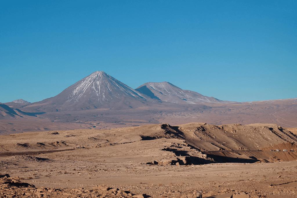 Volcan Licancabur behind the Valle de la Luna in the Atacama.