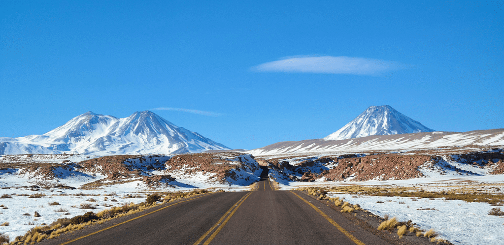 Snow-capped mountain drive to the Lagunas Altiplanicas.