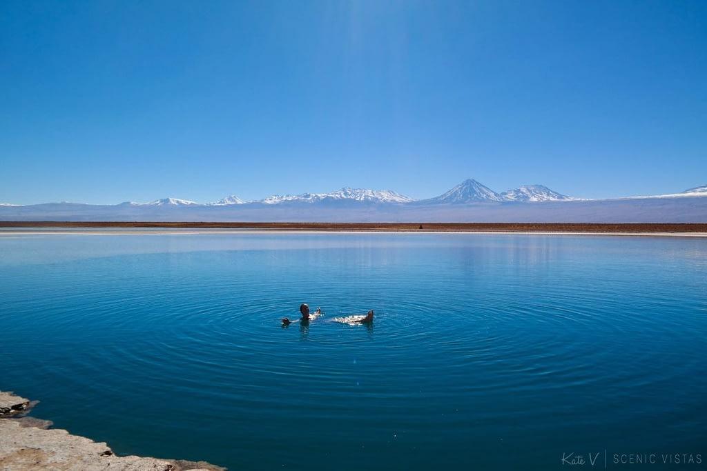Woman floating alone in the salty Laguna Cejar in the Atacama.