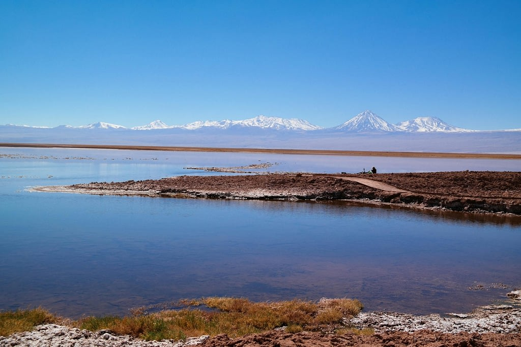 Salt flats along Laguna Tebenquiche in the Atacama Desert.