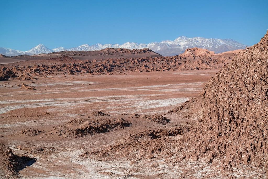Red rock formations in the Cordillera de la Sal in the Atacama Desert.