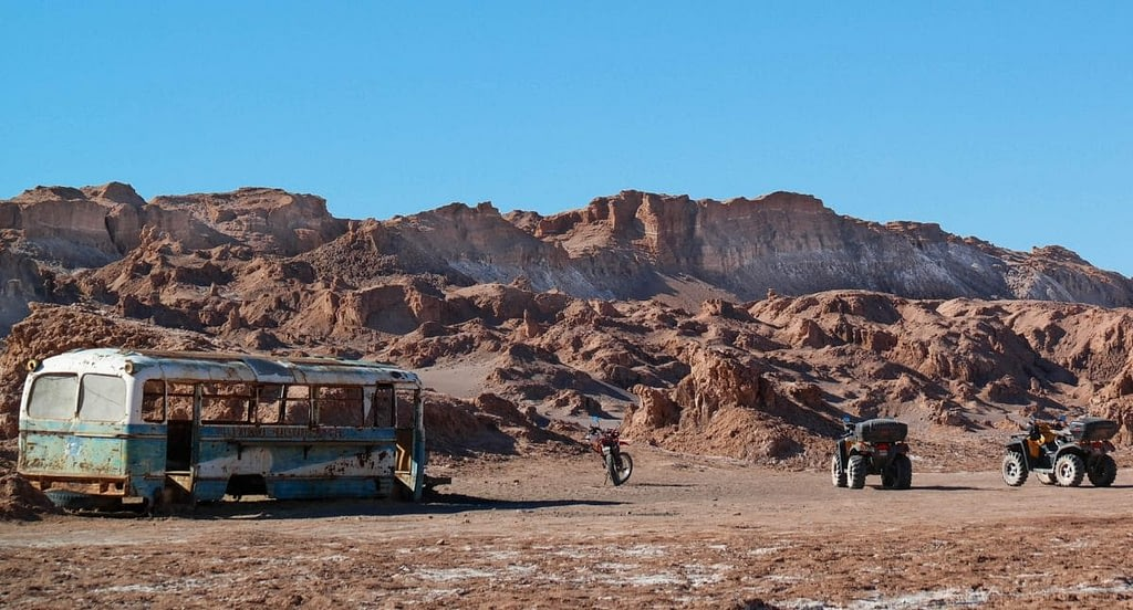 Old abandoned bus in the Atacama Desert.
