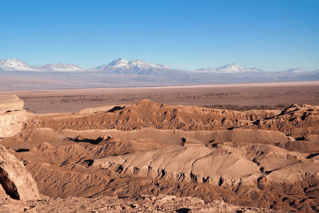 Sunset at Valle de la Luna in the Atacama Desert.