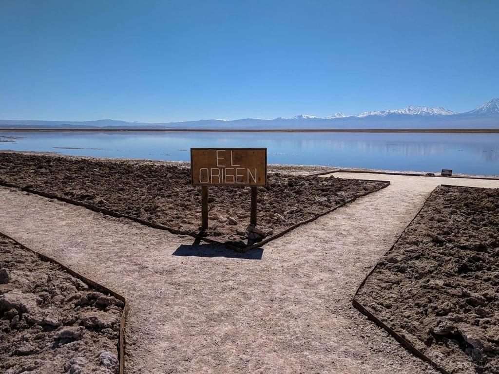 Paths diverge along Laguna Tebenquiche in the Atacama.