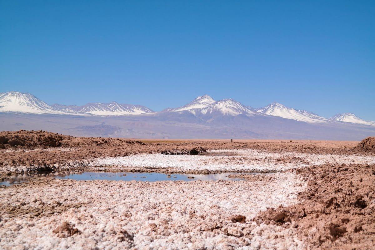 Colorful salt flats along Laguna Tebenquiche in the Atacama Desert.