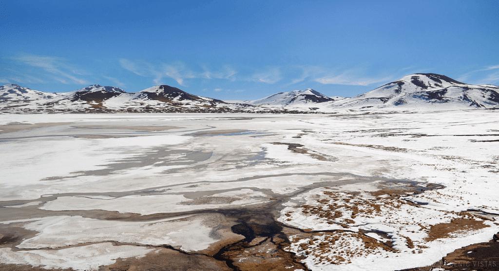 Frozen Piedras Rojas in the Lagunas Altiplanicas.