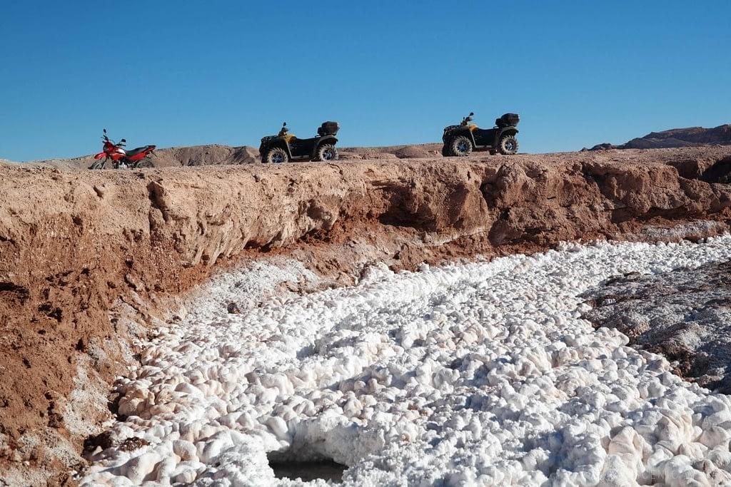 An ATV ride along a salt river in the Atacama Desert.