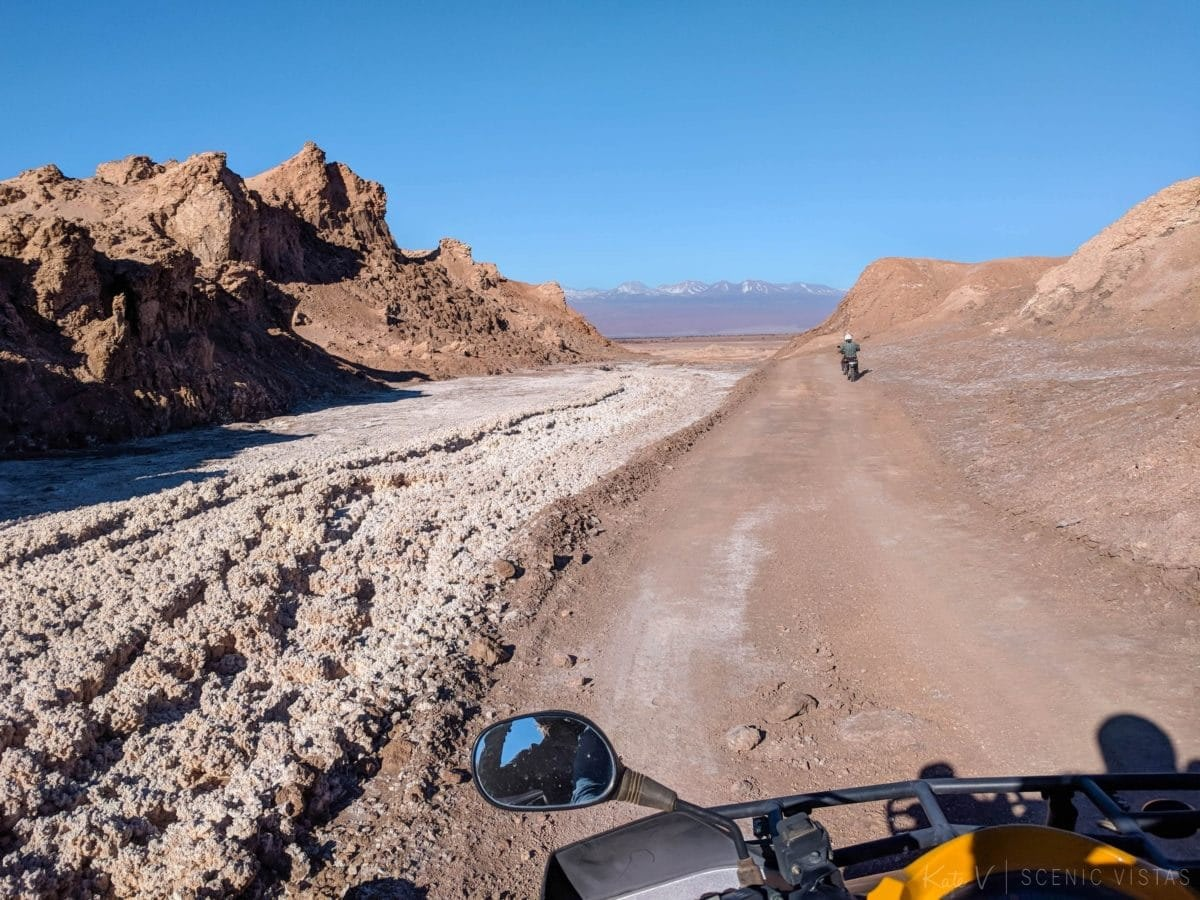 View from the driver's seat on an ATV through the Atacama desert.
