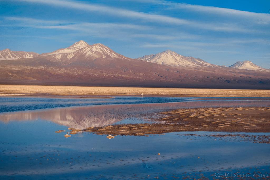 Mountains at sunset at Laguna Chaxa in Salar de Atacama.