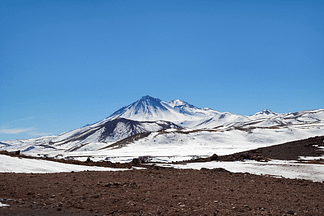 Snow-capped mountains of the Lagunas Altiplanicas in Chile.